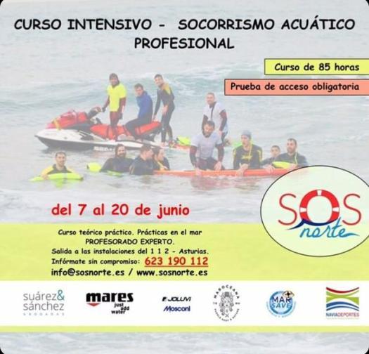 Curso de Socorrismo Acuático Profesional intensivo en Navia. Curso de socorrismo acuático de Verano en Navia en SOS NORTE (ASTURIAS)